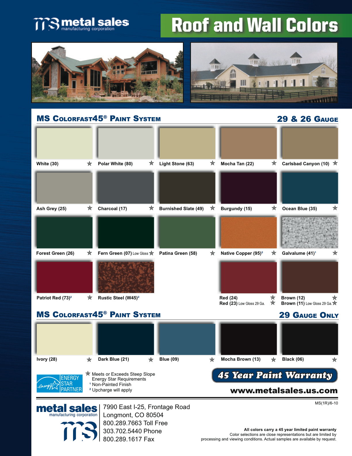 Metal Sales Colors 28 Images Ms Colorfast45 174 Metal